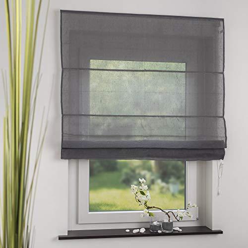 OBI Raffrollo Raffvorhang Raffgardine Leinen Grau | 60 x 170 cm