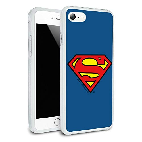 Superman Classic S Shield Logo Protective Slim Fit Hybrid Rubber Bumper Case for Apple iPhone 7 and 7 Plus