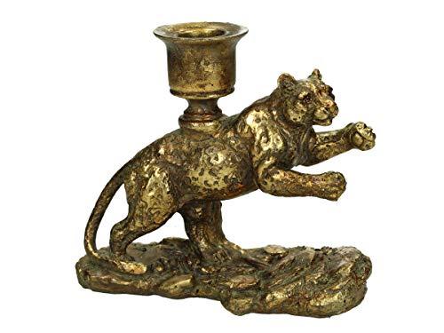 Engelnburg hoogwaardige kandelaar kandelaar kandelaar tijger polyhars goud 15x7x14cm