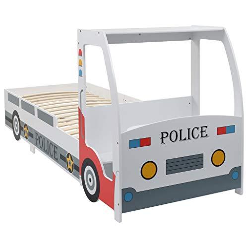 Festnight Polizeiauto-Kinderbett mit Memory-Schaum-Matratze Schlafzimmer Kinderzimmer Kindermöbel 90×200 cm