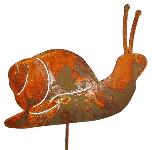 Beetstecker Schnecke auf Stab 31 x 14 incl. 16 cm Stab Metall Rost Figur Deko GPW 562414 F