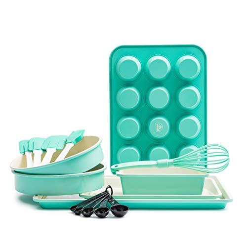 GreenLife CC002429-001 - Juego de utensilios para hornear de cerámica (12 piezas), color turquesa