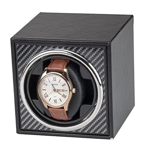 Uhrenbeweger Single Automatic Watch Wickler, Mechanische Uhr Shaker Elektrische Wicklung Wickelbox Memory Foam Watch-kissen Mit Super Leiser Moto(Color:Äußeres schwarzes Kunstleder + Kohlefasermuster)