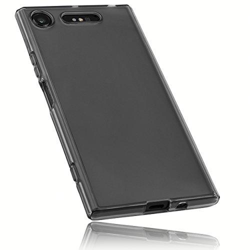 mumbi Funda Compatible con Sony Xperia XZ1 Caja del teléfono móvil, Negro Transparente