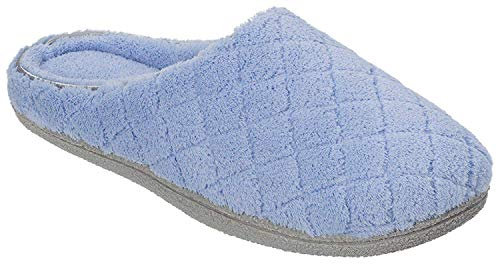 Dearfoams Womens Quilt Memory Foam Clog Slippers Large Iceberg blue