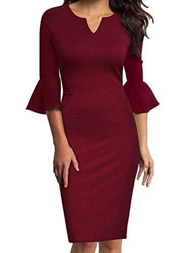 WOOSUNZE Womens Flounce Bell Sleeve Office Work Casual Pencil Dress (Wine, Small) (Apparel)