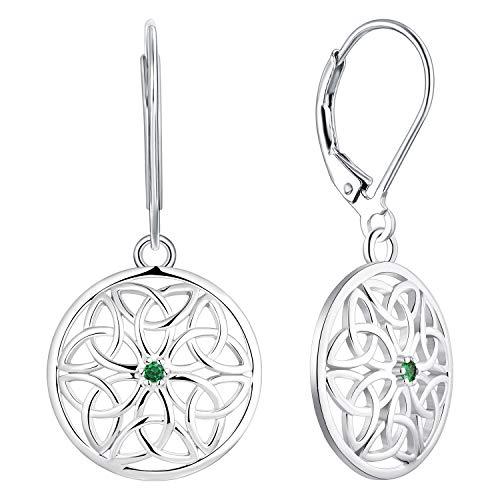 JO WISDOM Women Knot Earrings,925 Sterling Silver Irish Triquetra Celtic Knot Drop & Dangle Earrings with 3A Cubic Zirconia May Birthstone Emerald Color