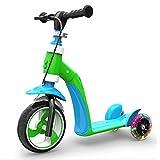 Qnlly Bicicleta para niños Baby Balance Scooter de Coche Bicicleta para bebé Triciclo en tándem con cojín Plegable Juguetes para niños Regalos,Verde