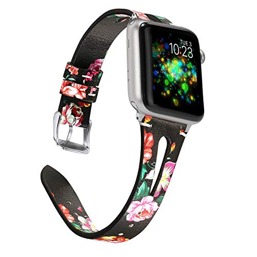 Wearlizer Floral Leather Bands Compatible with Apple Watch Straps 38mm 40mm for iWatch Womens Special Triangle Hole Wristband Sport Replacement Bracelet (Silver Buckle) Series 5 4 3 2 1-Black Red