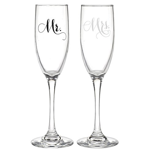 All Things Weddings, Mr. and Mrs. Wedding Glass Champagne Toasting Flutes, Reception or Engagement Bride and Groom Glasses, Set of 2