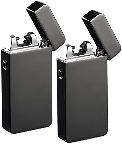 PEARL USB Zigarettenanzünder: 2er-Set elektronische Feuerzeuge mit doppeltem Lichtbogen, USB (Akku-Feuerzeug)