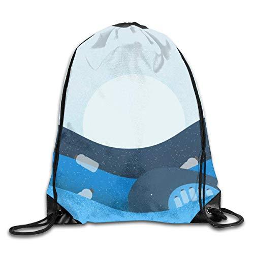 gfhfdjhf Plastikverschmutzung im Ozean Kordelzug Sportrucksack Leichtgewicht Gym Yoga Rucksack Casual Outdoor Daypack für Frauen und Männer 14X17 Zoll 24378