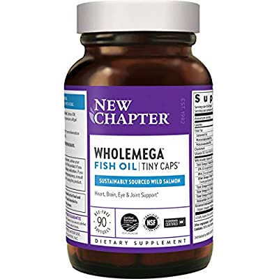 New Chapter Wholemega Fish Oil Supplement - Wild Alaskan Salmon Oil with Omega-3 + Astaxanthin + Sustainably Caught - 90 Count (Packaging May Vary)