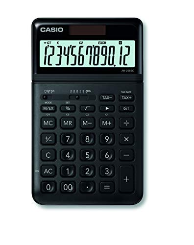Casio JW-200SC-BK eleganter Tischrechner, 12-stellig, in sieben Farbvarianten