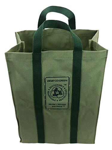 Hanf Go Green Einkaufstasche, 100 % Hanf, strapazierfähig, wiederverwendbar, Grün