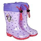 Botas de Agua Niñas Minnie Mouse - Botines Impermeables Infantiles Official Disney Minni - Suela Antideslizante y Cierre Cordón - Lila y Rojo - 4 Tallas Diferentes - Perletti (Lila, 28/29 EU)