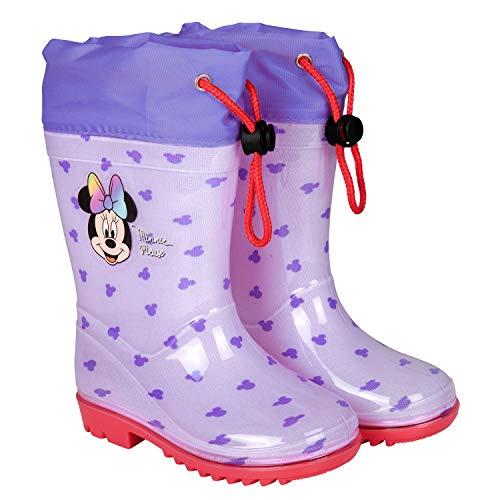 PERLETTI Disney Minni Maus Regenstiefel Violett - Minnie Mouse Kinder Stiefel Wasserdicht - Kleine Mädchen Regen Stiefeletten Regenbogen Schleife - rutschfeste Sohle und Kordelzug (Lila, 26/27 EU)