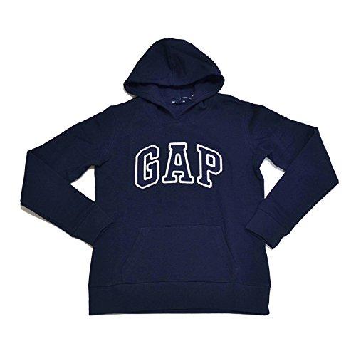 GAP Womens Fleece Arch Logo Pullover Hoodie (Navy, X-Large)