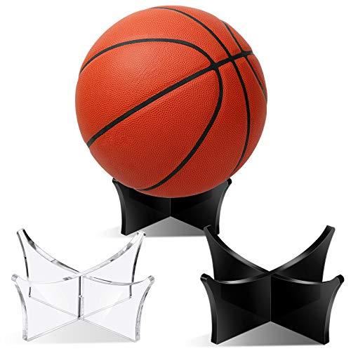 Jetec Soporte de Exhibición de Pelotas de Acrílico Soportes de Fútbol Soporte de Exhibición de Baloncesto para Fútbol Baloncesto Voleibol (2 Piezas)