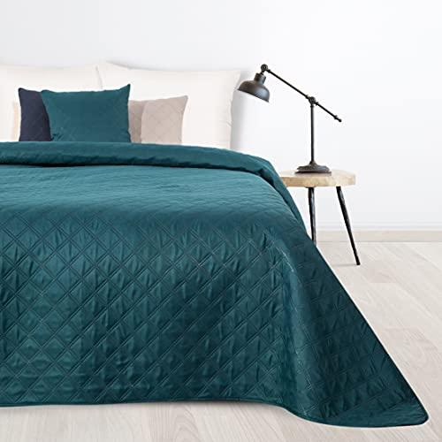 Design91 Decke BONI3 Allzweckdecke Klassische Tagesdecke Gesteppter Bettüberwurf Sofaüberwurf Steppdecke (Dunkeltürkis, 220 x 240 cm)
