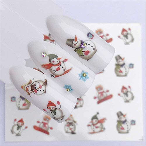 SRTYH Autocollant d'ongle Nail Art Nail Sticker Year Slider Tattoo Christmas Water Decal Snowman Designs Decals Make Nails More Beautiful AA