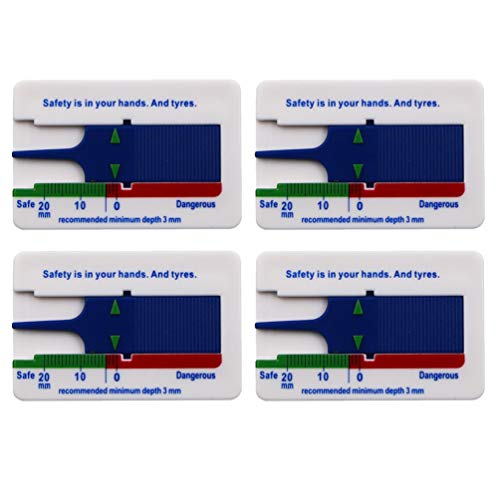 Wakauto Calibro di profondità del battistrada per Pneumatici di Alta precisione Calibro di profondità del battistrada 4 Pezzi per Auto furgoni Camion Blu (0-20 mm)