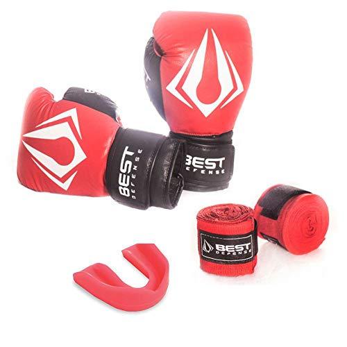 Kit Boxe Muay Thai Luva 14oz + Protetor Bucal + Bandagem 3m - Vermelho