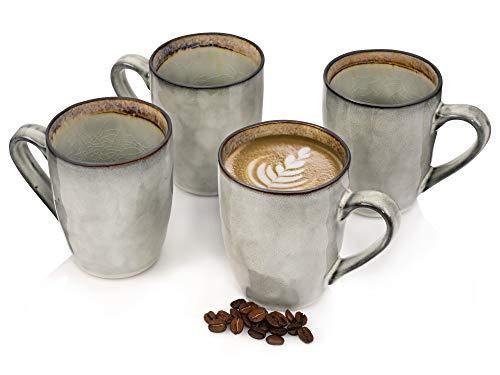 Sänger Kaffeebecher Set Capri grau 4 teiliges Becher Set für 4 Personen aus Steingut, Tee-Becher Füllmenge: 350 ml, erweiterbar, mit Henkel, Alltag, Büro, Frühstück, Brunch, Outdoor Tassen Set