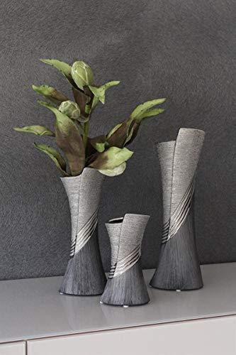 GILDE Moderne Vase Keramikvase Tischvase Dekovase Vase grau silber mit Relifierung, 13x38 cm