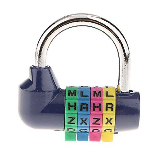 SDENSHI 4-Buchstaben-Kombinationsschloss Buchstabenschloss Vorhängeschloss Combination Lock Kofferschloss Reiseschloss - Blau