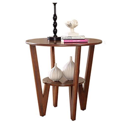 Zaixi Grande Table Basse en peuplier Rond et Petit peuplier 60cm de Large (Peuplier Rustique) Forte capacité portante (Couleur : Walnut Color)