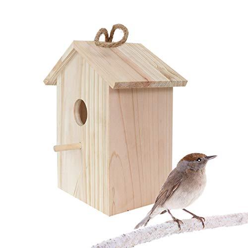 Nistkasten für Blaumeisen und Kohlmeisen, Holz Vogelhaus für Balkon und Garten, Vogelfutterhaus, Haus für Vögel, Vogelhäuschen, Vogel Futterhaus Bausatz aus Echtholz, zum Aufhängen,22*19*11CM