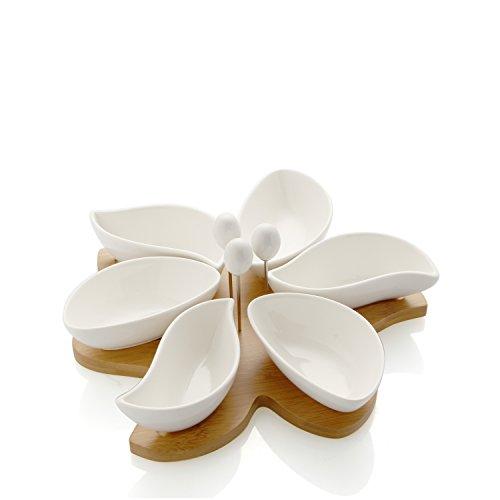 Brandani 55754 Antipastiera spicchi di sole in porcellana bianca con vassoio bamboo e 3 forchettine acciaio inox
