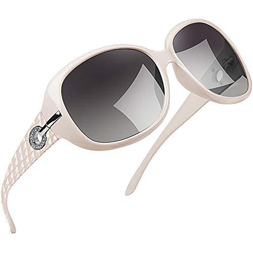 Joopin Gafas de Sol Mujer Moda Polarizadas Proteccin UV400 de Gran Tamao Gafas de Sol Seoras Blanco