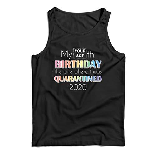 lepni.me Canottiera da Uomo 2020 Distanza Sociale Quarantena Personalizzata Regalo di Buon Compleanno (X-Large Nero Multicolore)