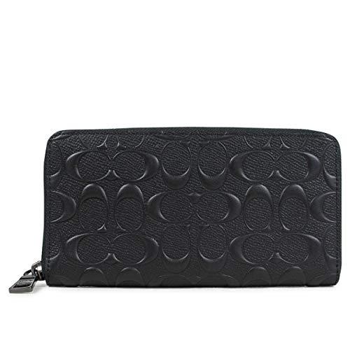 Coach Men's Embossed Signature logo Durable Leather Long Wallet (Black)