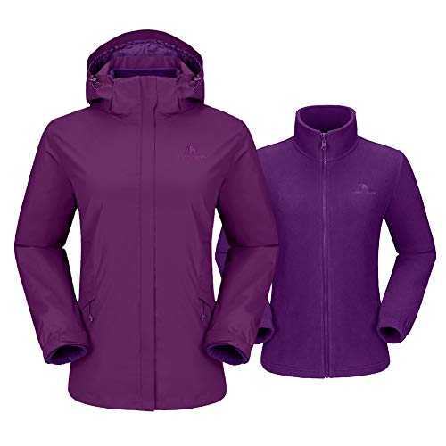 CAMEL CROWN Damen 3-in-1 Skijacke Fleece Jacke Outdoor Wasserdicht Winddicht Warm Atmungsaktiv Winterjacke Wanderjacke mit Kapuze Abnehmbare, Doppeljacke Regenjacke Funktionsjacke Damenjacke,Lila-1,L