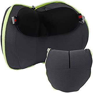 Travel Pillow 100% Pure Memory Foam Neck Pillow, Comfortable & Breathable Cover, Machine Washable, Airplane Travel Kit wit...