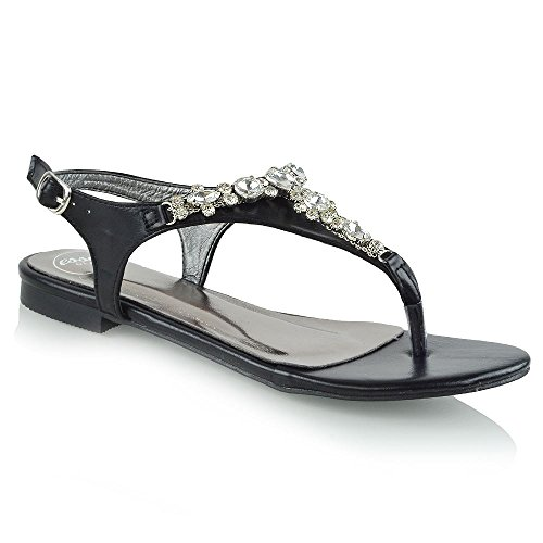 Womens Flat Toe Post Sandals T-Bar Ladies Gem Diamante Brooch Holiday Shoes Size