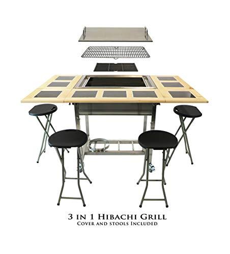 My Hibachi BBQ HBC1B Outdoor 3-in-1 Sit Around Propane w/Flat Top Teppanyaki...