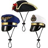 3 Sombreros de Mascotas de Disfraz de Halloween Gorro de Capitán Marino Marinero de Mascotas Gorro de Pirata de Gato Gorro de Disfraz de Fiesta de Perros para Mascotas Pequeños Medianos