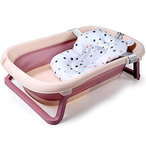 TISI Baby-Badewanne, rutschfest und faltbar, mit Netz, Baby-Badewanne, tragbar, für 0-36 Monate, Rosa