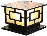 ZJQLI Portal del pilar de la lámpara Vintage E27,lámpara al aire libre rústica IP23 Pilar de la terminal de jardín Iluminación de iluminación de jardín for caminos Lámparas de noche de jaula de alumin