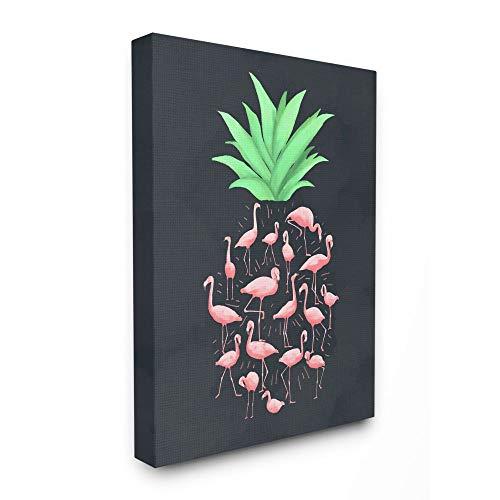 Stupell Industries Flamingo Pineapple Animal Black, Design by Artist Ziwei Li Wall Art, 16 x 20, Canvas