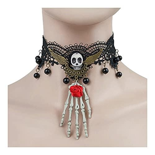 AJMINI Collar de Gargantilla de cráneo de Encaje, Collar de Estilo Punk gótico Sexy, Collar de Mujer con Cuello Steampunk, for Mujeres y Chicas de Halloween Party Sustume (Color : Negro)