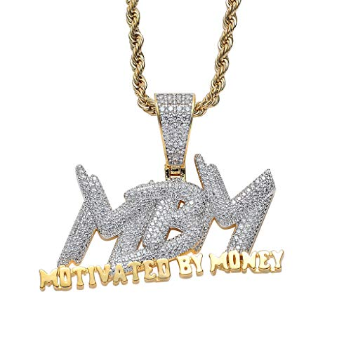 Iced Out Zircon Letter Motivated By Money Pendant Necklace Two Tone Plated Micro Paved Lab Diamond Bling Hip Hop Jewelry (Gold)