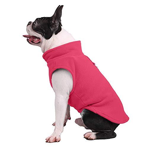 Hundepullover, Hunde-Sweatshirt, weiche Fleece-Weste, kaltes Wetter, Jacke mit Leinen-Ring für kleine Hunde, mittelgroße Hunde (Medium, Hot Pink)