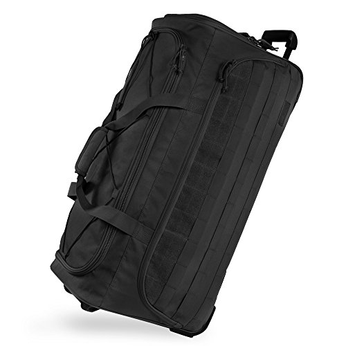 Highland Tactical 30' Squad Large Tactical Rolling Duffel Bag, Black, One Size
