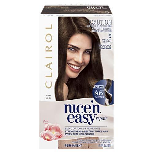 Clairol Nice'n Easy Repair Permanent Hair Colour, 5 Medium Brown, Pack of 1