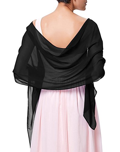 Kate Kasin Black Chiffon Bridal Evening Party Scarves Shawls for Formal Dress